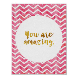 You Are Amazing Gold Cursive Saying Poster