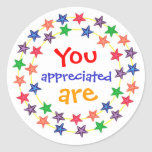 You are appreciated, stickers, with colourful star