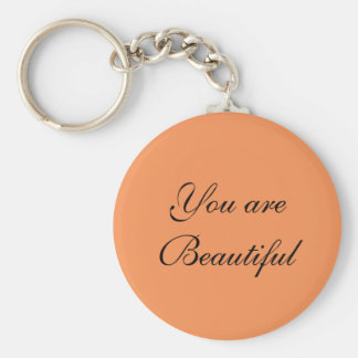You are Beautiful button keychain