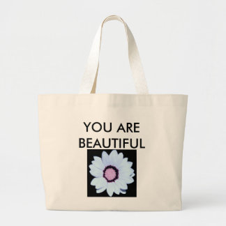 You Are Beautiful Ivory and Pink Daisy Tote