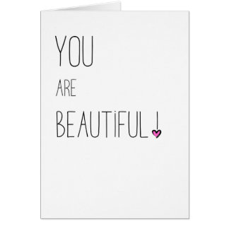 You Are Beautiful - LGBT - Pink Heart Card