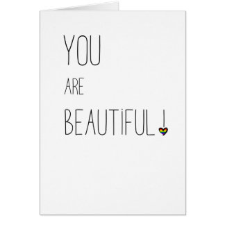 You Are Beautiful - LGBT - Rainbow Heart Card