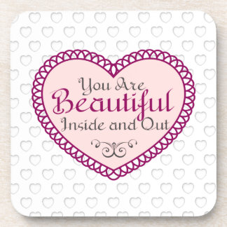 You Are Beautiful Word Art Gift Quotes Coasters