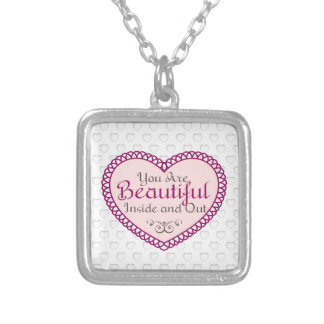 You Are Beautiful Word Art Gift Quotes Necklaces