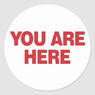 You Are Here - Red Classic Round Sticker