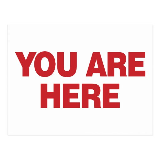 You Are Here - Red Post Card
