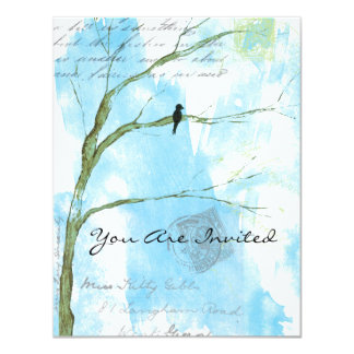 You Are Invited Bird in Tree Abstract Collage 11 Cm X 14 Cm Invitation Card