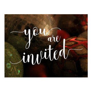 You Are Invited Christmas Party, Glass Balls Postcard