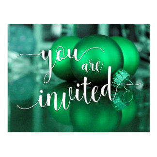 You Are Invited Christmas Party, Green Glass Balls Postcard