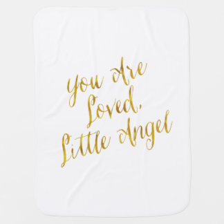 You Are Loved Angel Quote Faux Gold Foil Sparkly Baby Blanket
