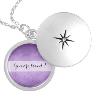 You are loved purple message locket