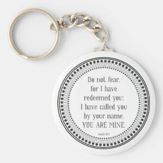 You are mine, black-and-white scripture basic round button key ring