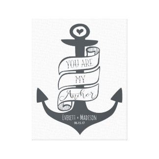"""You are my Anchor"" Personalized Couples Wedding Canvas Print"