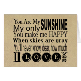 You Are My Sunshine Apparel and Gifts Card