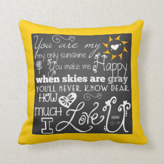 You Are My Sunshine Chalkboard Look Pillow Throw Cushions
