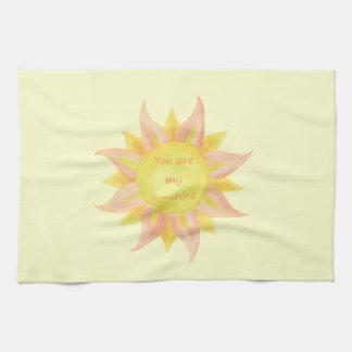 """You are my Sunshine"" Fun Quote Watercolor Sun Art Tea Towel"