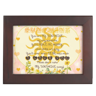 You are my sunshine heart design keepsake box