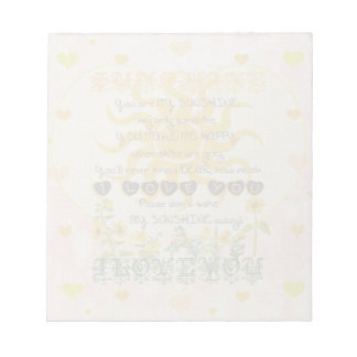 You Are My Sunshine Hearts Notepad