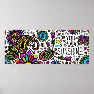 You are my SUNSHINE! marker art paisley kids print