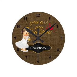 You Are My Sunshine Princess | Burlap Girl Nursery Round Clock