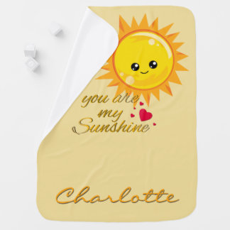 You Are My Sunshine Quote Gold Yellow Cute Nursery Baby Blanket