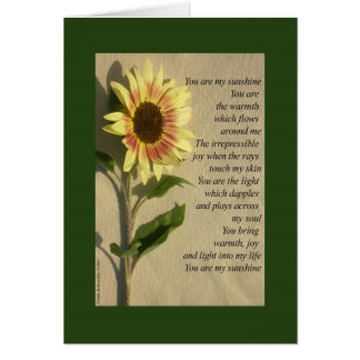 You Are My Sunshine verse Card