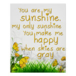 """""""You Are My Sunshine"""" Wall Art Posters"""