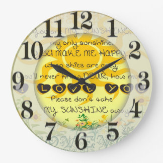 You are My Sunshine with Flowers in Yellow Large Clock
