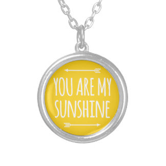 You are my sunshine, word art, text design round pendant necklace