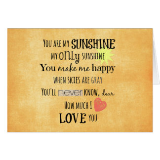 You are my Sunshine Word Art Typography Card