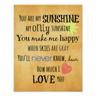 You are my Sunshine Word Art Typography Poster