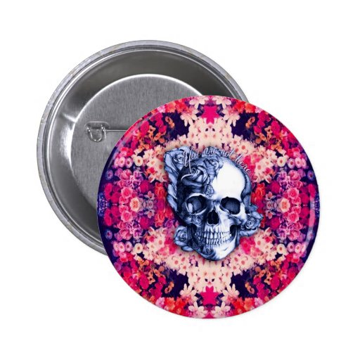 You are not here Day of the Dead artwork. Pinback Buttons