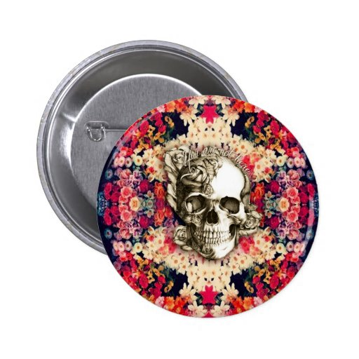You are not here floral day of the dead skull pin