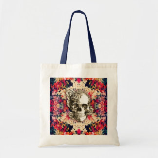 You are not here floral day of the dead skull tote bag