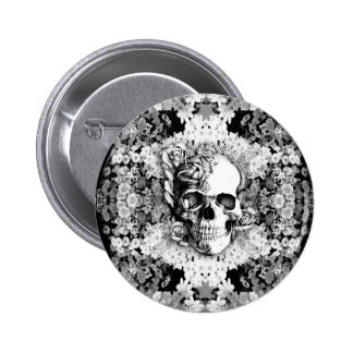 You are not here floral rose skull art in black. pinback buttons