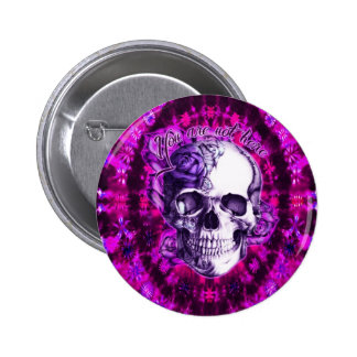 You are not here purple rose skull on tie dye. pin