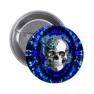 You are not here trippy rose skull in navy/ mint button