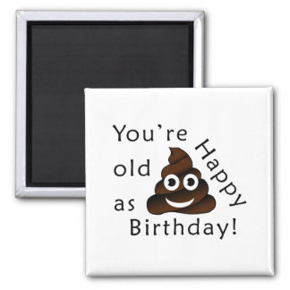 You are old as...Happy Birthday | funny poop emoji Magnet