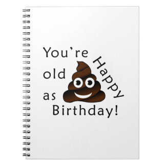 You are old as...Happy Birthday | funny poop emoji Notebook