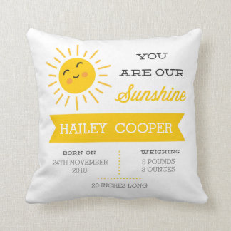 You are our Sunshine - Nursery Birth Stats Pillow
