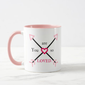 You Are So Loved Pink and Black Heart and Arrow Mug