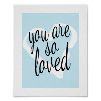 You are so Loved Sweet Blue Nursery Wall Print