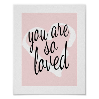 You are so Loved Sweet Pink Nursery Wall Print