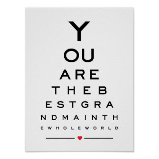 You are the best grandma in the world eye chart