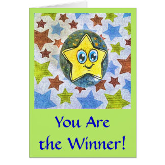 You Are the Winner, cartoon Star greeting card