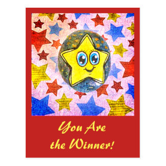 You Are the Winner - fineart stars on red postcard
