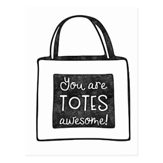 You are totes awesome stamped design postcard