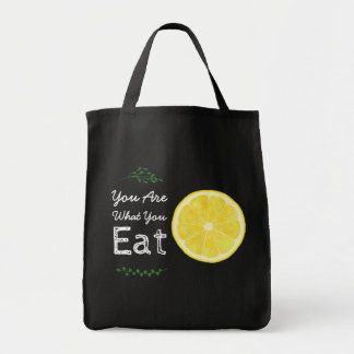 You Are What You Eat Lemon and Leaves Tote Bag