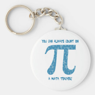 You Can Always Count on A Math Teacher Pi Tees Basic Round Button Key Ring