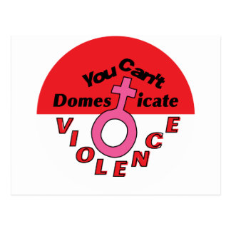 You Can't Domesticate Violence - Feminist Design Postcard